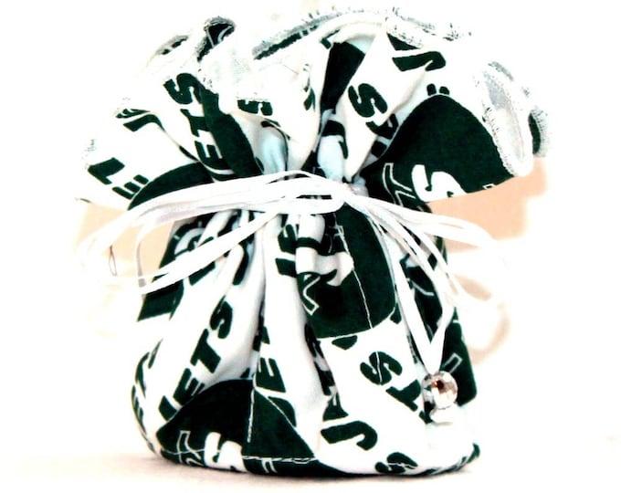 NEW YORK JETS Fabric Jewelry Organizer ~ Pouch ~ Storage Case ~ Bag ~ Tote - Bell Art Designs ~ Medium  JBMD423