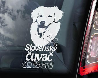 Slovenský Cuvac - Car Window Sticker - Slovak Chuvach Dog Sign Decal Sign - V01