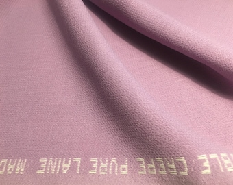 1.00m Light Violet CREPE WOOL Fabric Violet DOUBLE Crepe fabric