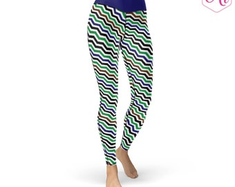Chevron Athletic Leggings, Chevron Print, Sports Leggings, Cute Leggings, Navy, Green, Athletic Apparel, Runner Apparel, Running Gifts