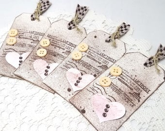 Brown and Pink Distressed Tags - Brown Mixed Media Gift Tags - Rustic Chic Gift Tags - Brown and Pink - Mixed Media Tags - Valentine Tags