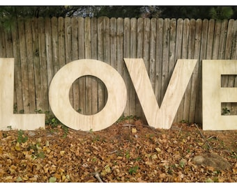 Wood Love Letters, Large Wood Letters, Unfinished Letters, Love Sign, Wood Love Sign, Large Wood Cutouts, Photography Backdrop,