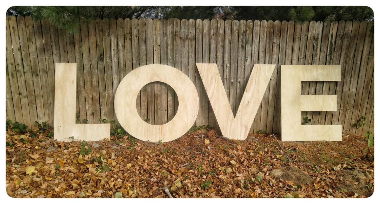 Cartas de amor de madera madera grande de las letras letras
