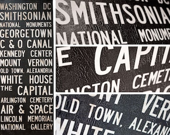 "Large Vintage WASHINGTON, DC  Bus Scroll / Subway Scroll  /  Transit Design - Custom hand painted and distressed, ready to hang 22"" x 59"""