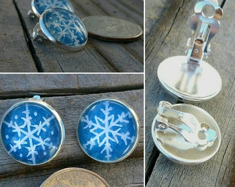 Snowflake clip-on earrings. Hand-painted snowflakes, each is unique! Silver-plated clip on earrings, winter jewelry clipons