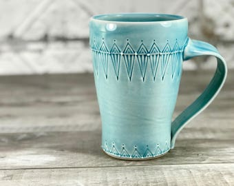 Large pottery mug: Stein. 16 ounce mug. 4 finger mugs. Handmade blue mug, Porcelain mug. Ceramic mug. Big pottery mug. One of a kind mug.