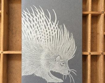 letterpress porcupine notebook