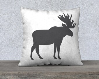 Moose (with Plaid Option) Decorative Pillow, Moose Pillow Cover, Plaid Pillow, Minimalist Art, Rustic, Farmhouse Decor