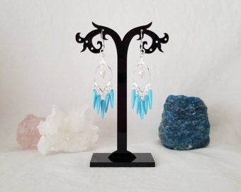 Sterling Silver Chandelier Twist Earrings With Pearl Drop And Glass Turquoise Daggers