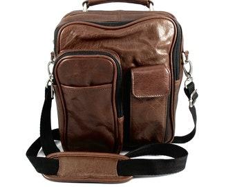 WILSONS Leather Crossbody Bag, Travel Bag, Shoulder Bag, Organizer, Dark Brown, Carry Handle, Brushed Silver, Unisex, 1990's, Soft Leather