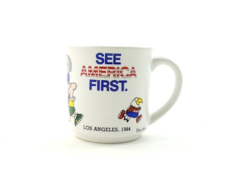 Vintage 80s Sandra Boynton Mug, Los Angeles Mug, LA Mug, See America First, Recycled Paper Products, Funny Animal Mug, Jogging Gift