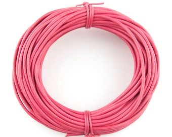Pink Round Leather Cord 2mm, 25 meters (27 yards)