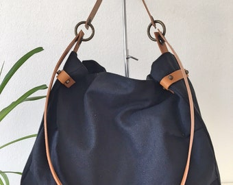 Navy blue  canvas Hobo Bag Shoulder Bag with leather  Large Casual  Trendy Cotton  Roomy
