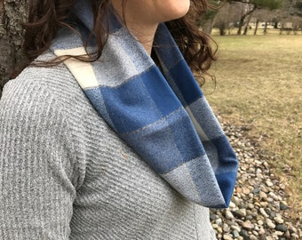 Blue and White Checked Cowl