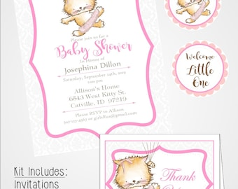 Kitten Tutu Baby Shower Kit, Digital download