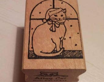 Retired Rubber Stamp Art       -    Christmas Cat In Window