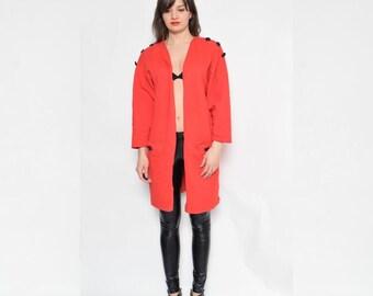 Vintage 80's  Red Cotton Blazer / Long Sleeve Blazer