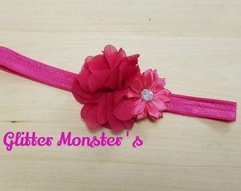 Pink Flower Infant Headband, Toddler Headband, Flower Girl Headband, Baby Headband, Pink Headband, Summer Flower Headband, Spring Flower Bow