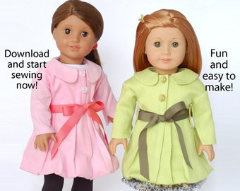 Pixie Faire Doll Duds Bubble Hem Trench Coat Doll Clothes Pattern for 18 inch American Girl Dolls - PDF