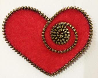 Brooch Handmade Felt, Wool. Gift Idea. Red Heart
