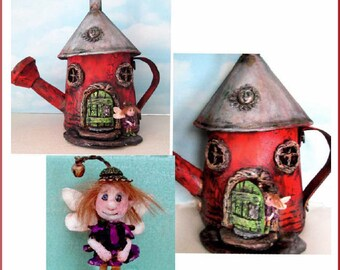"""Doll Making Class - Acme House, a painted fabric, watering can fairy house and 2"""" paperclay fairy.  by Susan Barmore (PDF Download) - SE518E"""