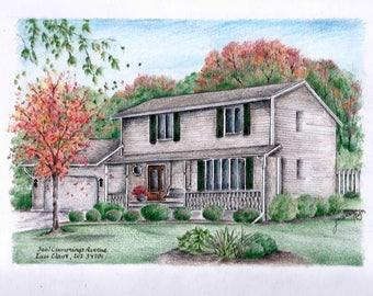 Custom House Portrait / House Drawing
