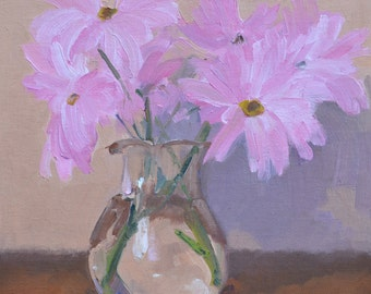 Flowers, still life, oil painting, flowers painting, impressionism, floral art, small art