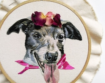 Custom Hand Embroidered Pet Portrait. Hand Stitched Pet Art. Custom Dog Portrait. Hand Stitched Pet Picture. Custom Pet Portrait Embroidery