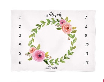 Monthly Baby Blanket Personalize Baby Blanket Baby Milestone Blanket Watch Me Grow Blanket, Floral Wreath Blanket, Monogramed Baby Blanket