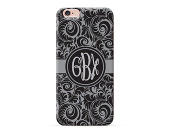 iPhone 8 Case, iPhone 8 Plus Case, iPhone X Case, iPhone 7 Case, iPhone 6 case, Monogram, black damask, personalized phone case, clear case