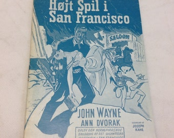 Flame of Barbary Coast John Wayne Ann Dvorak Kane Old 1945 Vintage Collectible Memorabilia Danish Movie Theater Souvenir Original Programme
