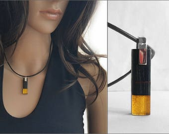 Oblong Amber Necklace, Wood Amber Pendant Necklace Leather Cord Baltic Yellow Amber Sterling Silver, Modern Rectangle Pendant