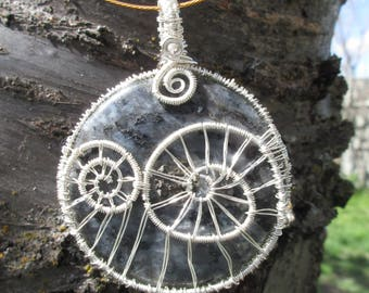 Large Spiral Wire Wrapped Norwegian Labradorite Donut Pendant in Silver-Plated Wire.