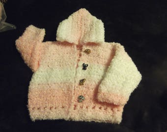 Pink and white boucle' 6-18 month infant's hand crocheted hoodie with puppy buttons!