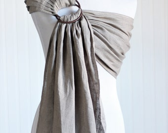 Bibetts Pure Linen Ring Sling Baby Carrier 'Oatmeal' - CPSIA compliant - Infant, Toddler and Baby Carrier