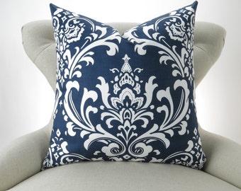 Navy Damask Pillow Cover - up to 28x28 inch- Navy Blue White Euro Sham, Big Blue Pillow, Navy Cushion, Ozborne Premier Prints, FREESHIP