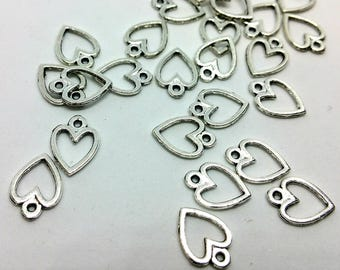 X 1 charm - Heart Love romantic - silver metal