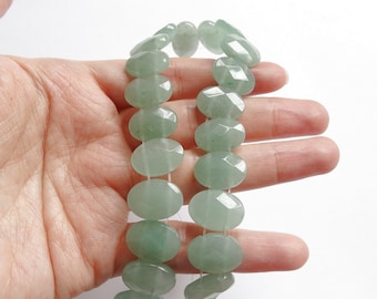 Green Aventurine Double Drilled Faceted Oval Beads 10x14 mm Full Strand H689