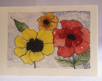 Sunny Flowers, Watercolor Notecards, Set of 4