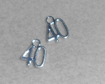"""Silver Number """"40""""  Charms"""