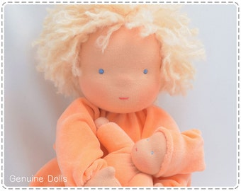 """Waldorf Doll. 14"""". Waldorf toys, soft dolls, Waldorf baby doll, bunting baby. Blue eyes. Blond hair."""