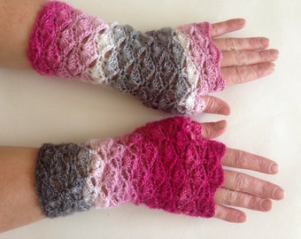 Fingerless gloves, Handwarmers, Unique gloves, armwarmers, wristwarmers, pink white gloves, mismatch gloves, Christmas gloves
