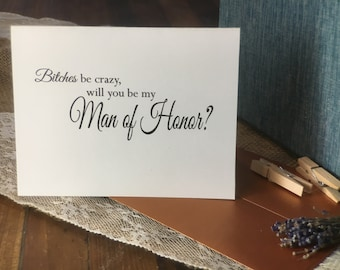Will you be my Man of Honor, Bridesman,  card, invitation, bridal party