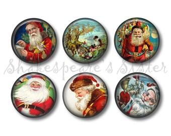 Vintage Santa Magnets - Fridge Magnets - Vintage Christmas - 6 Magnets - 1.5 Inch Magnets - Kitchen Magnets