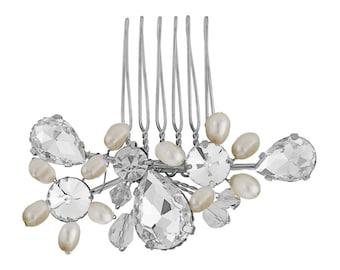 Wedding Hair Comb, Crystal hair comb, Swarovski & Pearl Bridal Hair Comb, bidesmaid hair comb, Prom hair comb, silver hair comb, gold comb