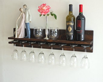 Rustic Wall Wine Rack Shelf & Hanging Stemware Glass Holder | Wood Wine Glass Rack Bar Organizer | Pine