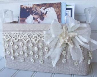 Coastal basket with sea star, lace and ribbon for cards and photos