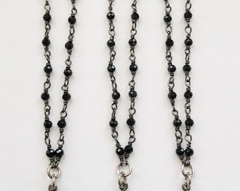 Rhinestone Gunmetal Star on Mini Black Spinel Chain