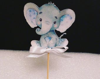 Baby Boy Elephant Watercolor cupcake toppers / Baby Elephant food picks / Baby Shower Elephant Party READY IN 48 HOURS