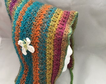 Colorful Pixie Hood with Butterfly, Hand Crocheted